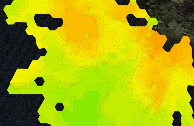 Deeper Pro Tiefenkarte eines tiefen Baggersees